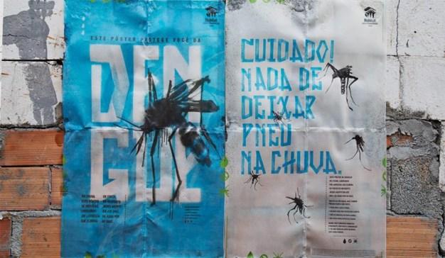 Cartel que se disuelve con el agua para acabar con los mosquitos